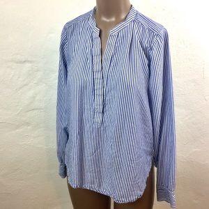 🐋 VINCE Cotton STRIPED Mandarin BLOUSE Shirt. 8